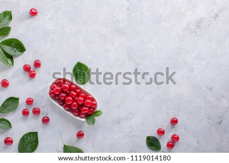 Beautiful Composition of Red Berries and green leaves, top view.    #1119014180