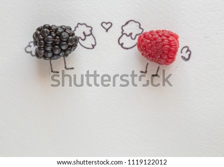 Fun food art for kids - raspberry lamb is in love with sheep blueberries #1119122012