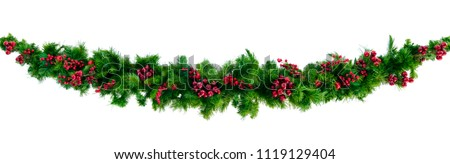Christmas garland with red berries, isolated on white. #1119129404