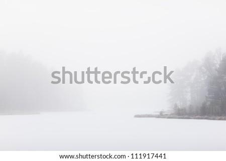 Scandinavian Peninsula, Sweden, Skane, View of misty lake #111917441