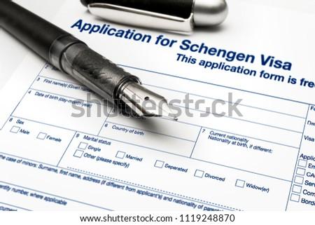 close up from a Application for Schengen visa and passport #1119248870
