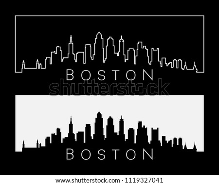 Boston city kyline silhouette set white on black