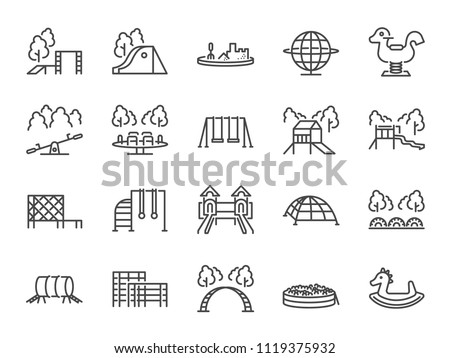 Playground icon set. Included icons as kids outdoor toy, sandbox, children parks, slide, monkey bar, dome climber, jungle gym and more. Royalty-Free Stock Photo #1119375932