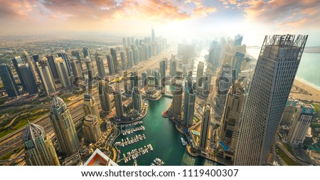 View on Dubai Marina skyscrapers and the most luxury superyacht marina,Dubai,United Arab Emirates Royalty-Free Stock Photo #1119400307