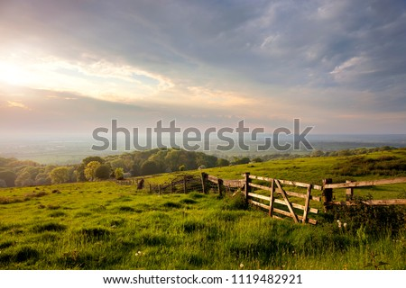 Evening time at Dover's Hill near Chipping Campden, Cotswolds, Gloucestershire, England. Royalty-Free Stock Photo #1119482921