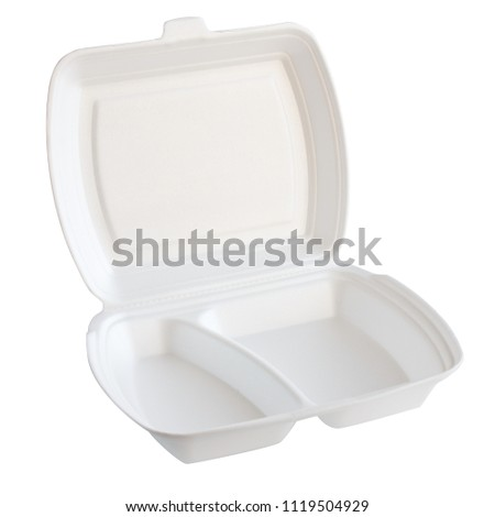 open foam container for food with sections isolated on white background #1119504929