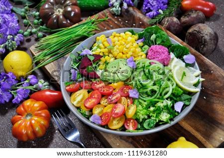 Rainbow Salad Colorful Food Royalty-Free Stock Photo #1119631280