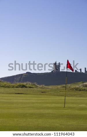 Dunstanburgh Castle Northumberland, from Golf Course. #111964043