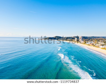 Palm Beach and Currumbin aerial view on the Gold Coast in Queensland, Australia #1119734837