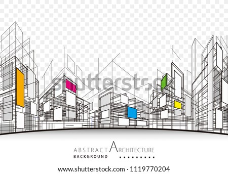 Architecture building perspective lines, modern urban architecture abstract background.  Royalty-Free Stock Photo #1119770204