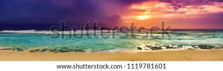 Sunset over the sea. Amazing landscape. Sri Lanka panorama