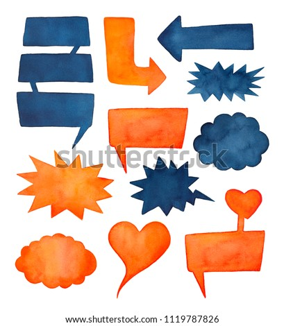 Collection of colorful watercolour speech bubbles, arrows and marks in comic book style. For text, notes, messages. Water color paint and brush strokes on white backdrop, isolated clip art elements.