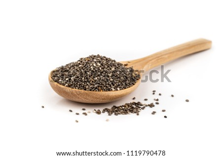 Healthy Chia seeds in a wooden spoon isolated on white. #1119790478