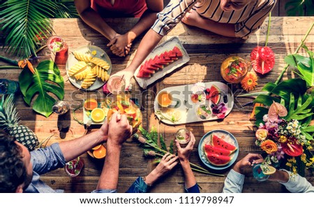 Friends party drinks healthy gathering #1119798947