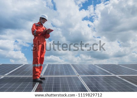 operation and maintenance in solar power plant ; engineering team working on checking and maintenance in solar power plant ,solar power plant to innovation of green energy for life #1119829712