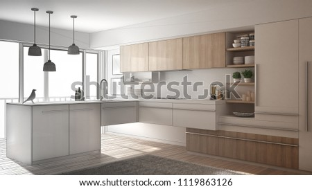 Unfinished project of modern minimalistic kitchen with parquet floor, carpet and panoramic window, architecture interior design, 3d illustration #1119863126