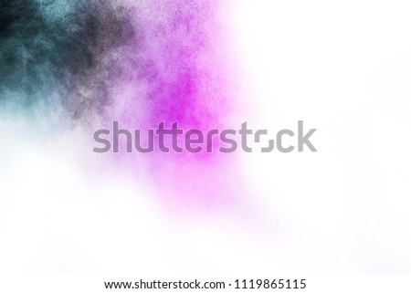 Abstract dust overlay texture, Black particles explosion isolated on white background.  Royalty-Free Stock Photo #1119865115