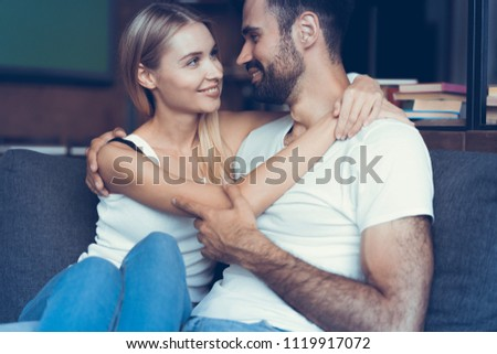 Sweet in love couple dreaming of their future #1119917072