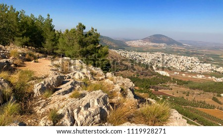 View from the Mount Precipice in Nazareth with Mount Tabor in the  background, Israel #1119928271