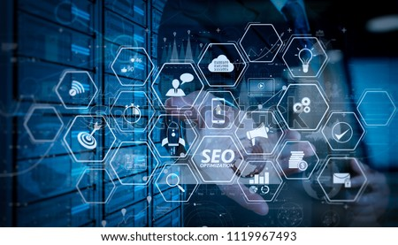 Seo Optimization for website with mobile website and Landing page virtual diagram.businessman hand working with modern technology and digital layer effect as business strategy concept