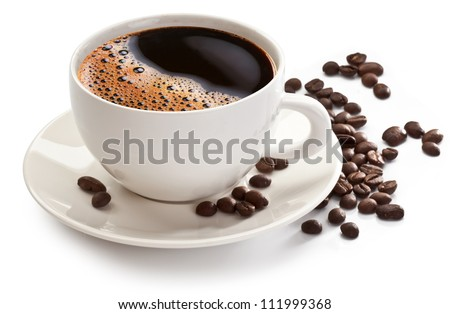 Coffee cup and beans on a white background. #111999368