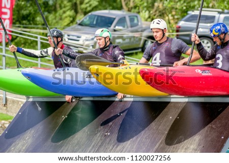 LIPTOVSKY MIKULAS, SLOVAKIA - JUN 24: Extreme canoe slalom at ICF world cup first round Jun 24, 2018 in Liptovsky Mikulas #1120027256