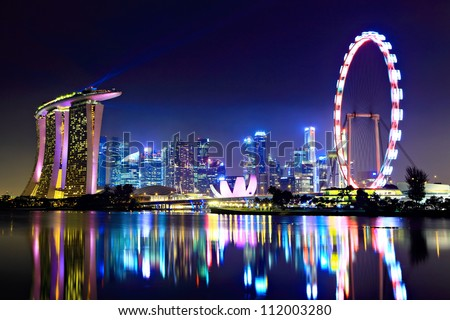 Singapore city skyline at night Royalty-Free Stock Photo #112003280