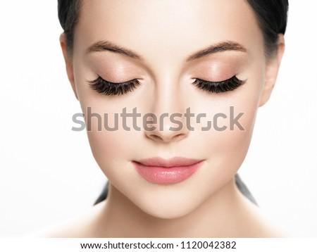Lashes extension, eyelash, beautiful woman eyescloseup Royalty-Free Stock Photo #1120042382