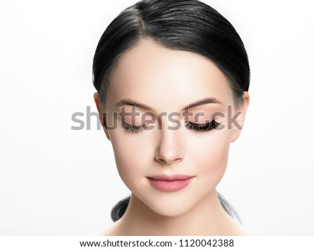 Lashes extension before after, eyelash, beautiful woman eyescloseup Royalty-Free Stock Photo #1120042388