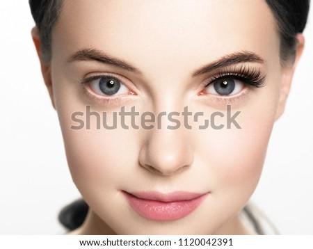 Lashes extension before after, eyelash, beautiful woman eyescloseup Royalty-Free Stock Photo #1120042391