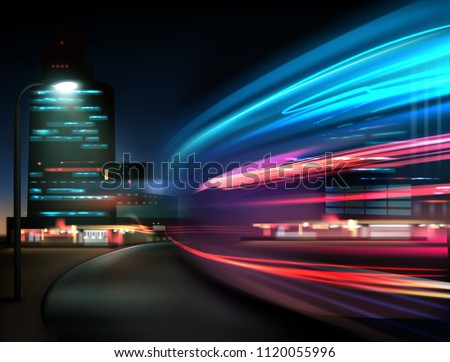 Vector image of colorful light trails with motion blur effect, long time exposure. Isolated on background #1120055996