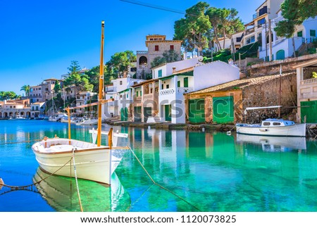 Beautiful view of Cala Figuera, old fishing harbor on Mallorca, Balearic Islands, Spain Mediterranean Sea #1120073825