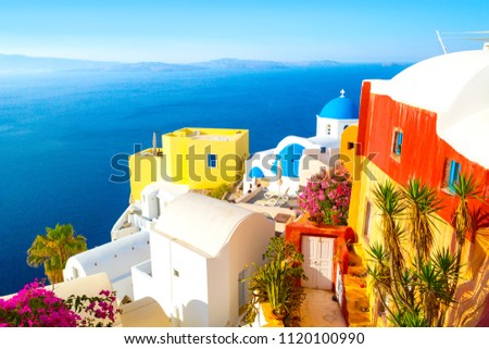 View of Oia the most beautiful village of Santorini island in Greece. #1120100990