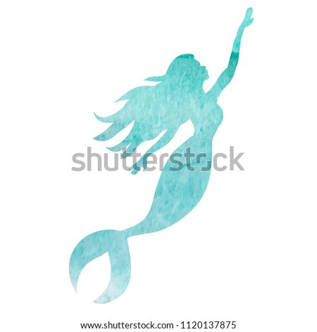 white background, watercolor silhouette mermaid #1120137875