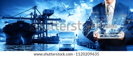 Businessman is pressing button on touch screen interface in front Logistics Industrial Container Cargo freight ship for Concept of fast or instant shipping, Online goods orders worldwide #1120209635