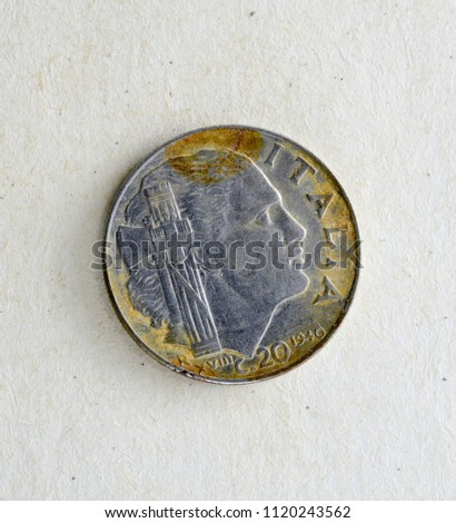 old dirty coin from italy  #1120243562