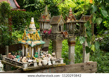 Altar for Thai people, Religion symbols in budhism, Outdoor Buddhist altar #1120293842
