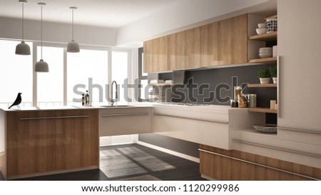 Modern minimalistic wooden kitchen with parquet floor, carpet and panoramic window, white and gray architecture interior design, 3d illustration #1120299986