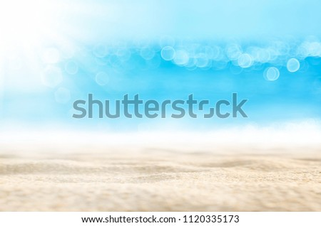 Blur tropical beach with bokeh sun light wave abstract background. Copy space of outdoor summer vacation and travel adventure concept. Vintage tone filter effect color style. #1120335173