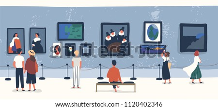 Visitors of classic art gallery or museum viewing exhibits. People or tourists looking at paintings at exhibition. Men and women enjoying artworks. Colorful vector illustration in flat cartoon style. Royalty-Free Stock Photo #1120402346