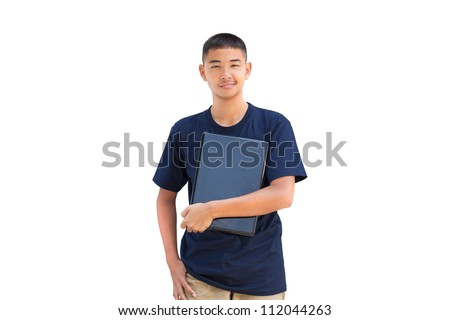 Teenager boy hugging laptop computer, Isolated on white #112044263