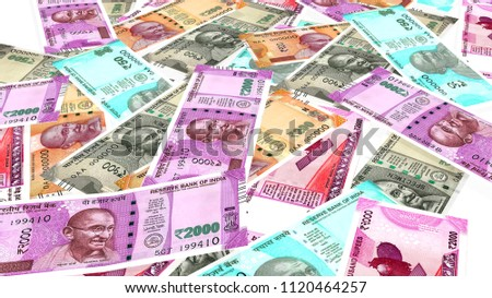 Indian currency all new notes perspective on white background #1120464257