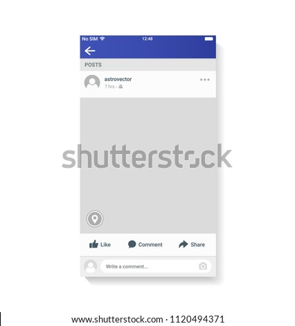 New Mockup of social network photo frame inspired by Facebook and other social resources. Modern design. Vector illustration. EPS10.