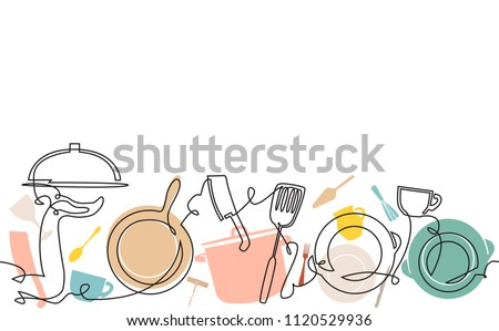 Horizontal Cooking Pattern. Background with utensils. Continuous line drawing. Vector illustration.  Royalty-Free Stock Photo #1120529936