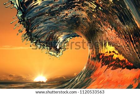 Beautiful ocean wave, sea water rip curl