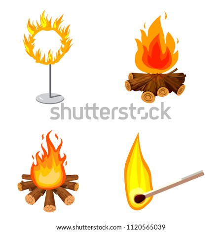 Fire icon set. Cartoon set of fire icons for web design isolated on white background