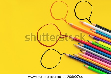 Community communication, represents people conference, social media interaction & engagement. group of pencils sharing idea on the yellow background with copy space #1120600766