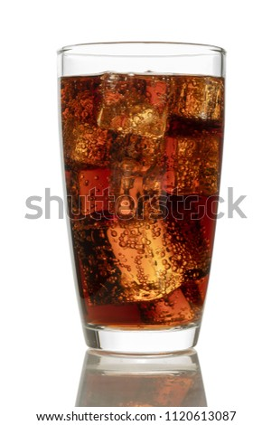 Cola in glass with ice on white background #1120613087