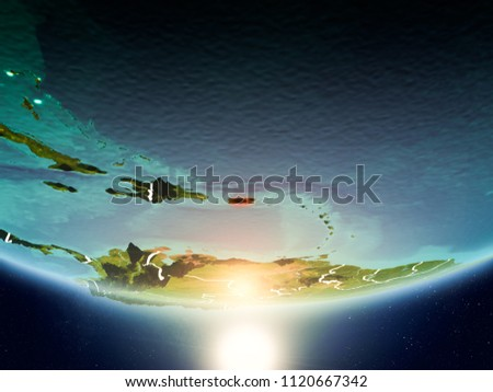Puerto Rico from orbit of planet Earth in sunrise with highly detailed surface textures and visible country borders. 3D illustration. Elements of this image furnished by NASA. #1120667342