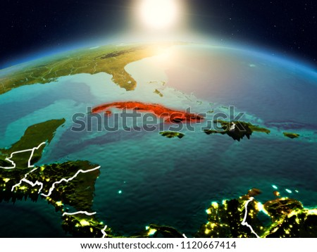 Sunrise above Cuba highlighted in red on model of planet Earth in space with visible country borders. 3D illustration. Elements of this image furnished by NASA. #1120667414